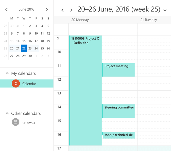 Planning booking in the calendar