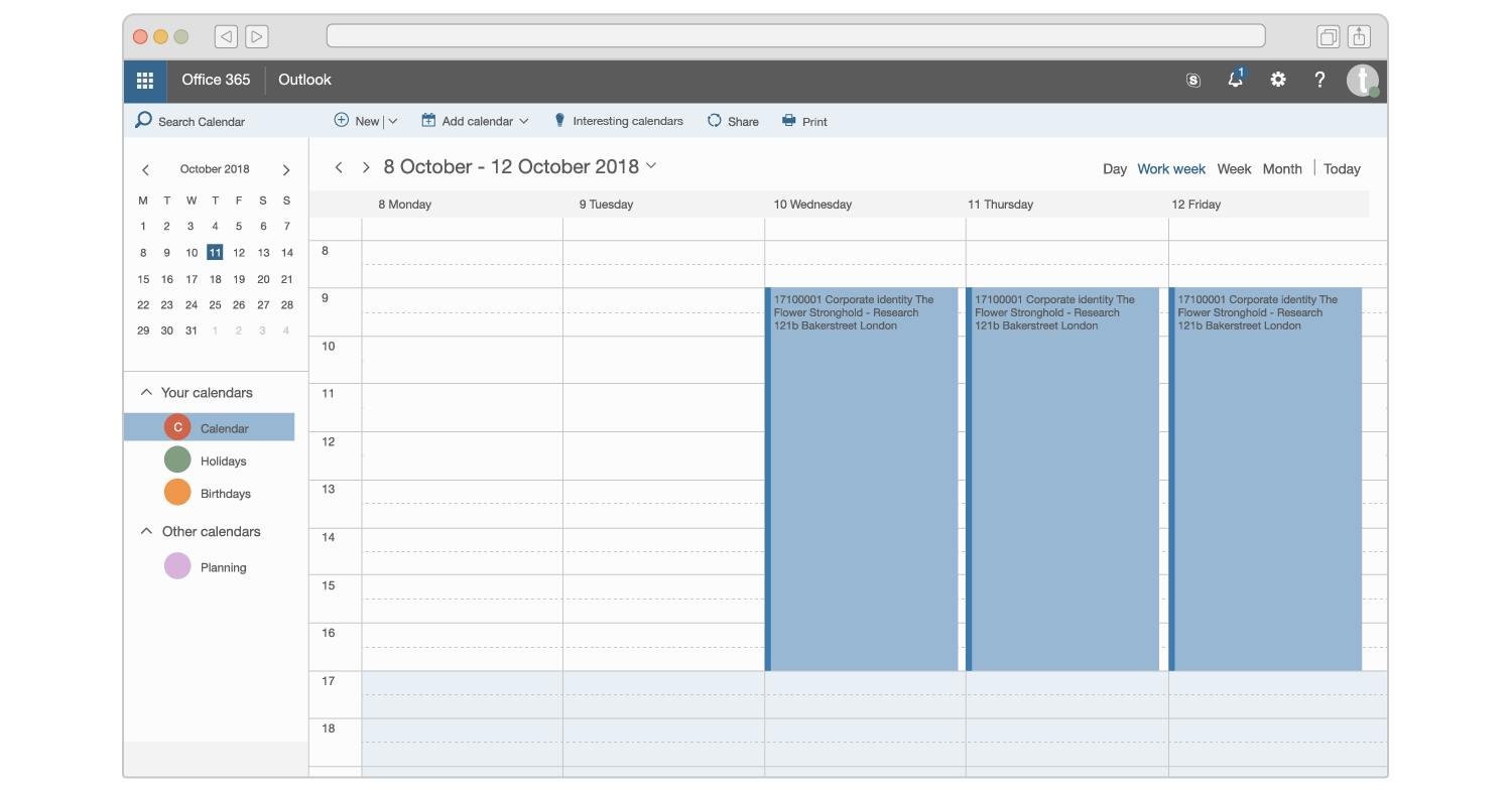 Een illustratie van de Microsoft Outlook agenda in Office 365